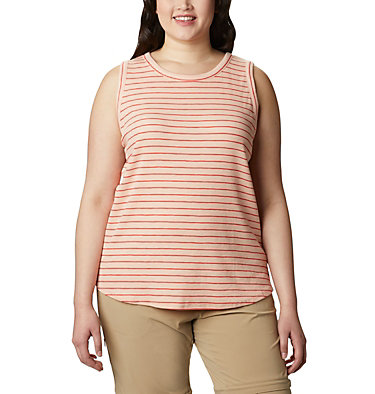 Camisole Longer Days™ pour femme – Grandes tailles Longer Days™ Tank | 870 | 1X, Peach Cloud Stripe, front