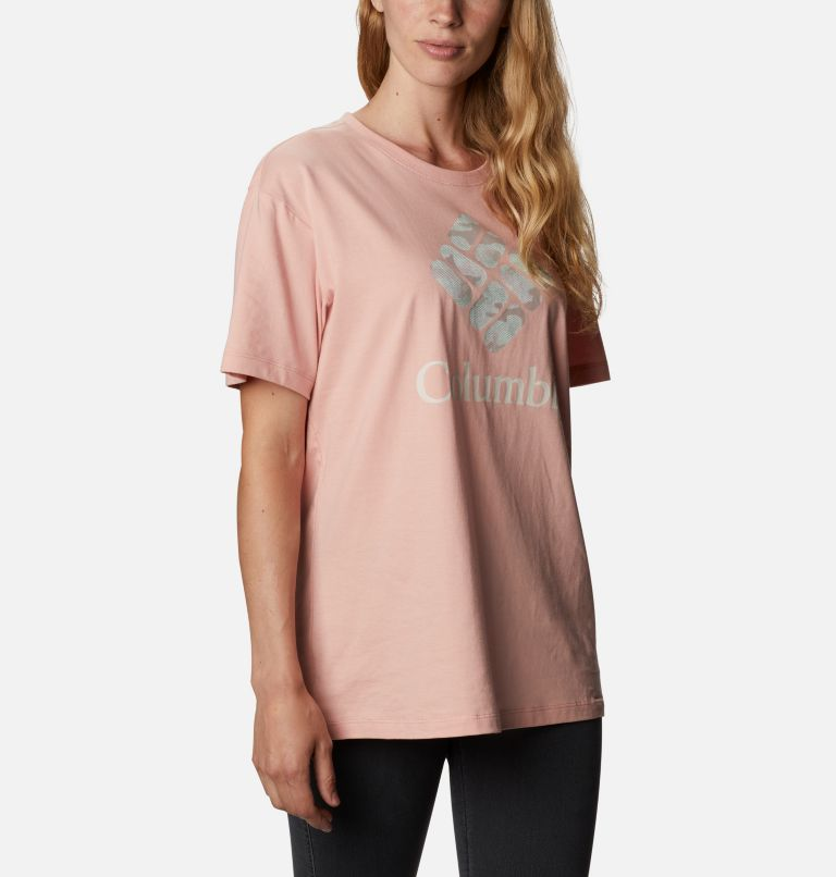 Columbia Park™ Relaxed Tee | 672 | M Women's Columbia Park™ Relaxed Tee, Faux Pink, Aqua Tone Camo Fill, a3