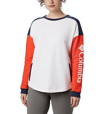 Women's Columbia Lodge™ II Crew Columbia Lodge™ II Crew | 870 | L, White, Bright Poppy, Nocturnal, front