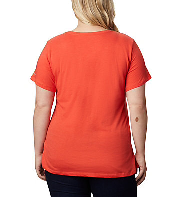 Women's Hidden Lake™ Crew T-Shirt – Plus Size Hidden Lake™ Crew Tee | 873 | 1X, Bright Poppy Heather, S'mores, back