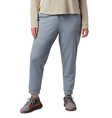 Women's Columbia™ Logo French Terry Joggers - Plus Size Columbia™ Logo French Terry Jogger | 032 | 1X, Tradewinds Grey Heather, front