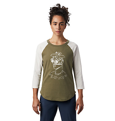 Women's Head in the Clouds™ Raglan 3/4 T-Shirt Head in the Clouds™ Raglan 3/4 T | 104 | L, Light Army, front