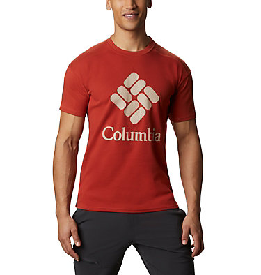 Men's Columbia Lodge™ T-Shirt Columbia Lodge™ Logo Tee | 101 | S, Carnelian Red, Fossil, front