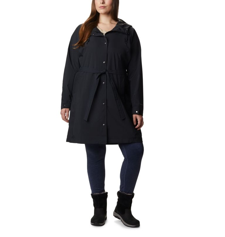 Women's Here And There™ Long Trench Jacket – Plus Size Women's Here And There™ Long Trench Jacket – Plus Size, front