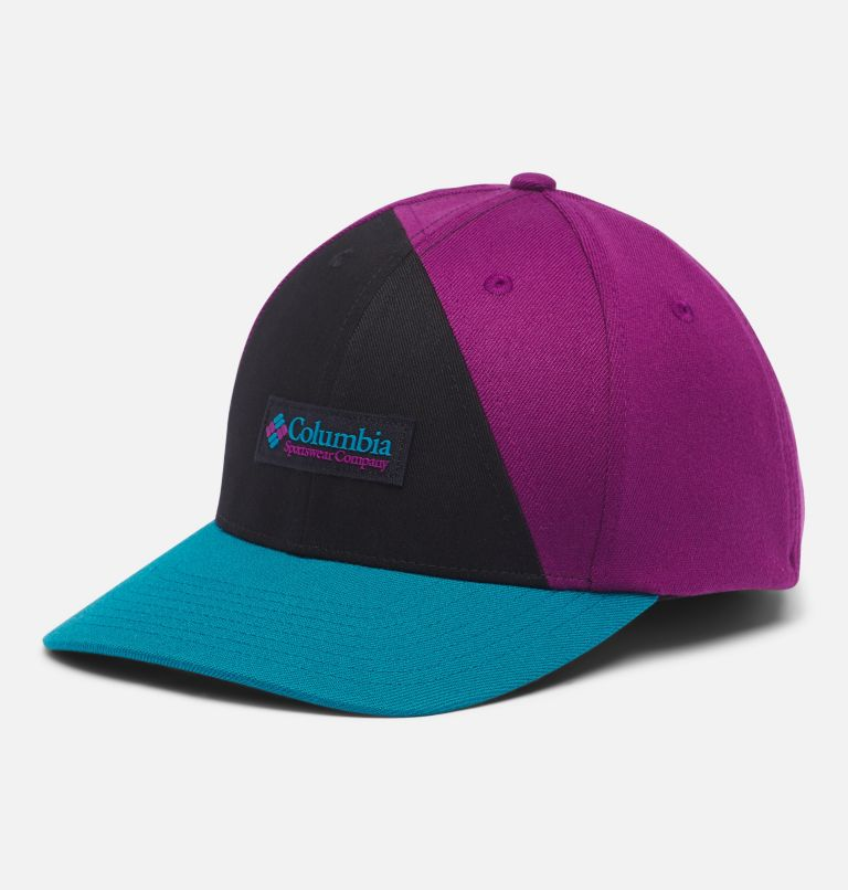 Columbia™ 110 Snap Back | 013 | O/S Columbia™ 110 Snap Back Ball Cap, Black, Plum, Icon Patch, front