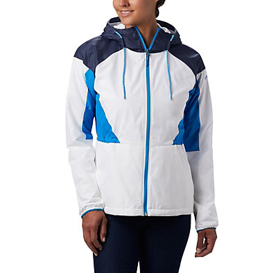 Women's Side Hill™ Lined Windbreaker Side Hill™ Lined Windbreaker | 843 | XL, White, Nocturnal, Static Blue, front
