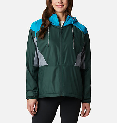 Women's Side Hill™ Lined Windbreaker Side Hill™ Lined Windbreaker | 843 | XL, Spruce, Fjord Blue, Grey Ash, front