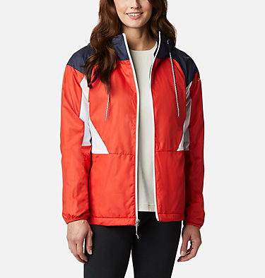 Women's Side Hill™ Lined Windbreaker Side Hill™ Lined Windbreaker | 843 | XL, Bold Orange, Dark Nocturnal, White, front