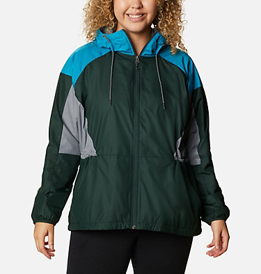 Women's Side Hill™ Lined Windbreaker - Plus Size Side Hill™ Lined Windbreaker | 010 | 1X, Spruce, Fjord Blue, Grey Ash, front