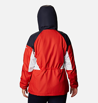 Women's Side Hill™ Lined Windbreaker - Plus Size Side Hill™ Lined Windbreaker | 010 | 1X, Bold Orange, Dark Nocturnal, White, back