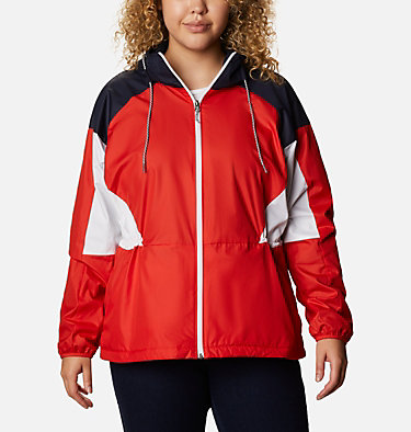 Women's Side Hill™ Lined Windbreaker - Plus Size Side Hill™ Lined Windbreaker | 010 | 1X, Bold Orange, Dark Nocturnal, White, front