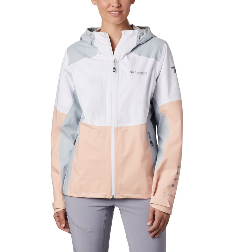 Titan Pass™ 2.5L Shell | 101 | XL Shell a 2,5 strati Titan Pass™ da donna, White, Peach Cloud, Cirrus Grey, front