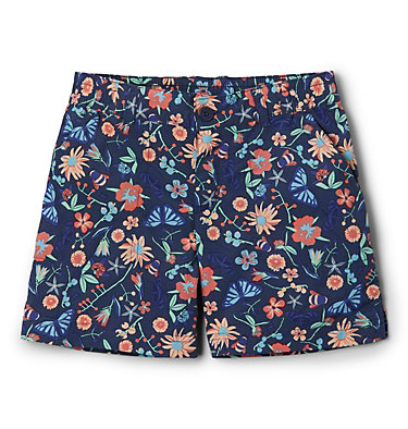 Girls' Silver Ridge™ Novelty Shorts Silver Ridge™Novelty Short | 468 | XXS, Nocturnal Wildflowers and Bugs, front