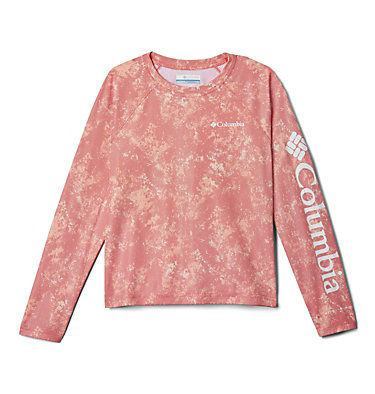 Kids' Solar Chill™ Printed Long Sleeve Shirt Solar Chill™ Printed Long Sleeve   847   L, Bright Poppy, front