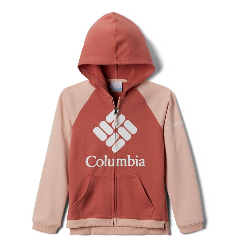 Columbia™ Branded French Terry Full Zip  | 639 | XXS Girls' Columbia™ Branded French Terry Full Zip Hoodie, Dark Coral, Peach Cloud, back