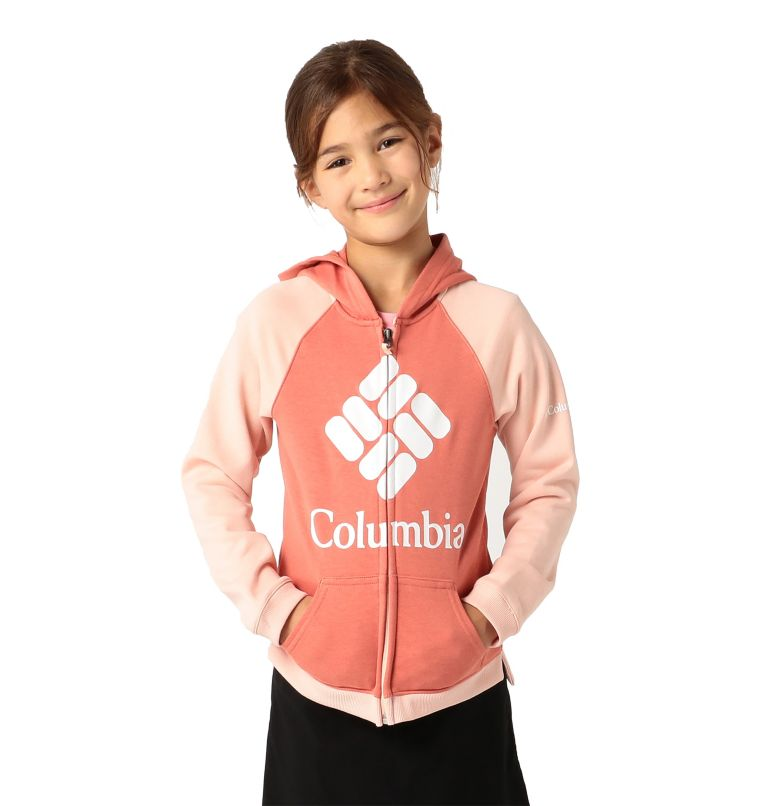 Columbia™ Branded French Terry Full Zip  | 639 | XXS Girls' Columbia™ Branded French Terry Full Zip Hoodie, Dark Coral, Peach Cloud, front