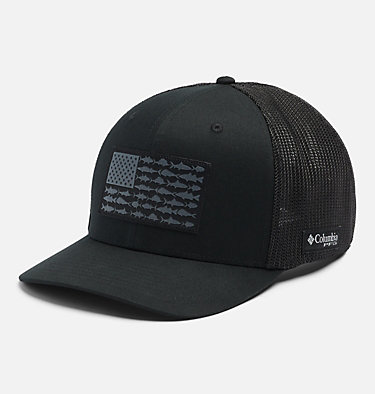 PFG Mesh™ Ball Cap XXL PFG Mesh™ Ball Cap XXL | 221 | O/S, Black, Fish Flag, front