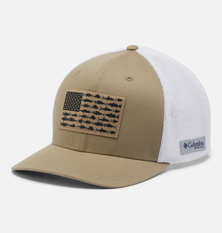 PFG Mesh™ Ball Cap XXL | 221 | O/S PFG Mesh™ Ball Cap XXL, Tusk, White, Fish Flag, front