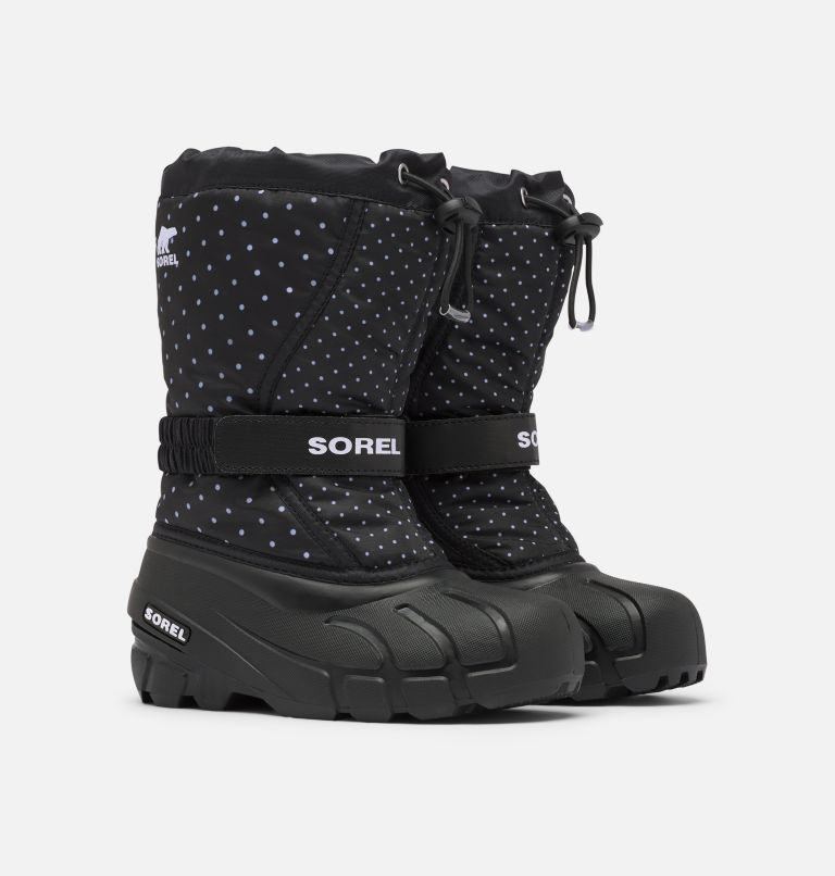 YOUTH FLURRY™ PRINT | 010 | 6 Youth Flurry™ Print Boot, Black, 3/4 front