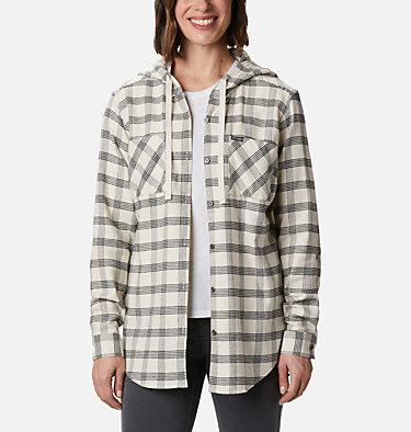 Women's Anytime™ Stretch Hooded Long Sleeve Shirt Anytime™ Stretch Hooded LS Shirt | 619 | L, Chalk Houndstooth, front