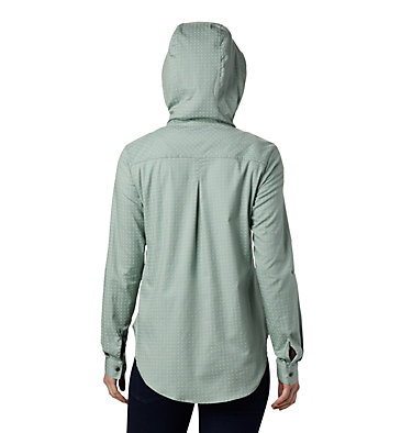 Women's Anytime™ Stretch Hooded Long Sleeve Shirt Anytime™ Stretch Hooded LS Shirt | 619 | L, Light Lichen Ditsy Dot Print, back