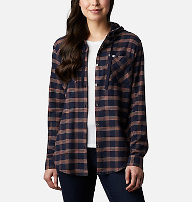 Women's Anytime™ Stretch Hooded Long Sleeve Shirt Anytime™ Stretch Hooded LS Shirt | 619 | L, Dark Nocturnal Houndstooth, front