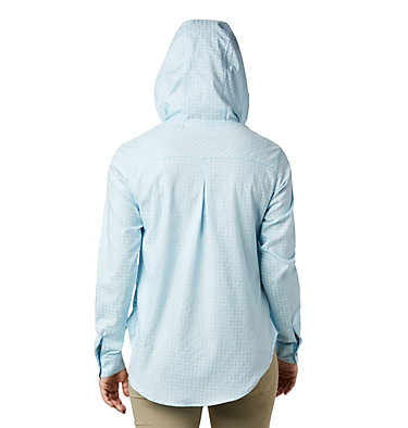 Women's Anytime™ Stretch Hooded Long Sleeve Shirt Anytime™ Stretch Hooded LS Shirt | 490 | S, Spring Blue Ditsy Dot Print, back