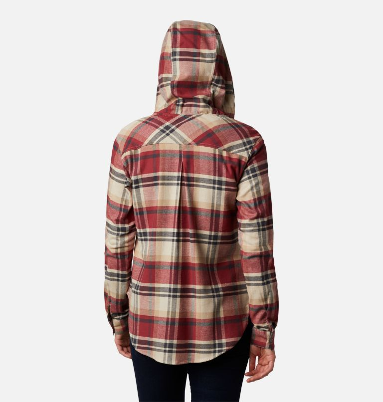 Anytime™ Stretch Hooded LS Shirt | 619 | S Women's Anytime™ Stretch Hooded Long Sleeve Shirt, Marsala Red Multi, back