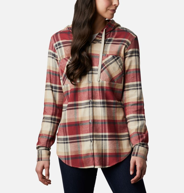 Anytime™ Stretch Hooded LS Shirt | 619 | S Women's Anytime™ Stretch Hooded Long Sleeve Shirt, Marsala Red Multi, front