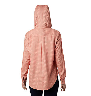 Women's Anytime™ Stretch Hooded Long Sleeve Shirt Anytime™ Stretch Hooded LS Shirt | 619 | L, Cedar Blush Ditsy Dot Print, back