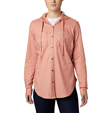 Women's Anytime™ Stretch Hooded Long Sleeve Shirt Anytime™ Stretch Hooded LS Shirt | 619 | L, Cedar Blush Ditsy Dot Print, front