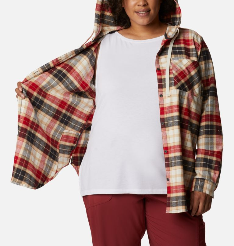 Women's Anytime™ Stretch Hooded Long Sleeve Shirt - Plus Size Women's Anytime™ Stretch Hooded Long Sleeve Shirt - Plus Size, a3