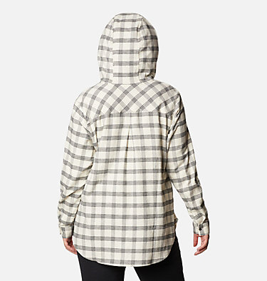 Women's Anytime™ Stretch Hooded Long Sleeve Shirt - Plus Size Anytime™ Stretch Hooded LS Shirt | 472 | 1X, Chalk Houndstooth, back