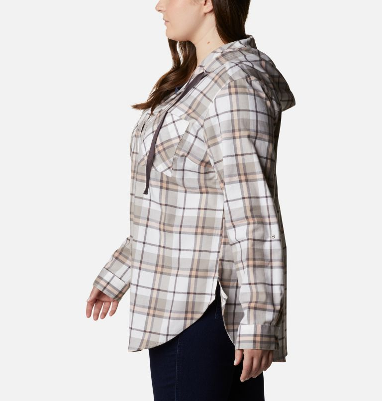 Anytime™ Stretch Hooded LS Shirt | 204 | 1X Women's Anytime™ Stretch Hooded Long Sleeve Shirt - Plus Size, Timber Plaid, a1