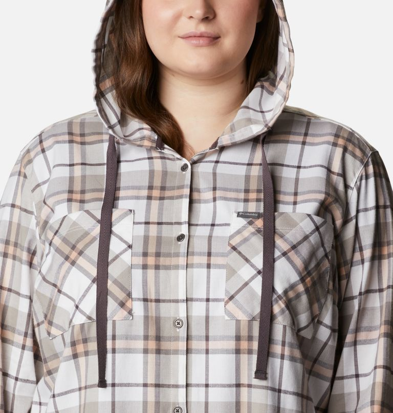 Anytime™ Stretch Hooded LS Shirt | 204 | 1X Women's Anytime™ Stretch Hooded Long Sleeve Shirt - Plus Size, Timber Plaid, a2