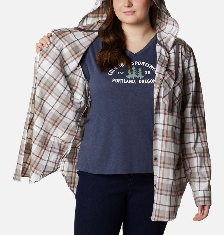 Anytime™ Stretch Hooded LS Shirt | 204 | 1X Women's Anytime™ Stretch Hooded Long Sleeve Shirt - Plus Size, Timber Plaid, a3