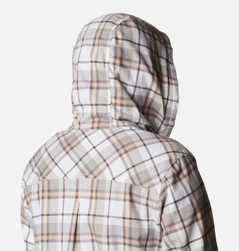 Anytime™ Stretch Hooded LS Shirt | 204 | 1X Women's Anytime™ Stretch Hooded Long Sleeve Shirt - Plus Size, Timber Plaid, a4