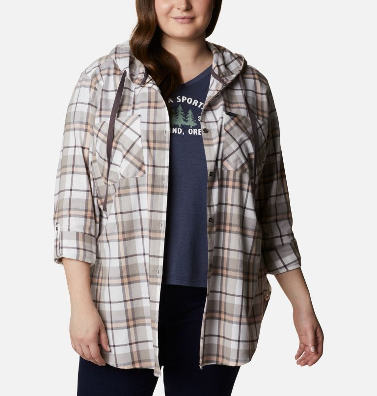 Anytime™ Stretch Hooded LS Shirt | 204 | 1X Women's Anytime™ Stretch Hooded Long Sleeve Shirt - Plus Size, Timber Plaid, a5