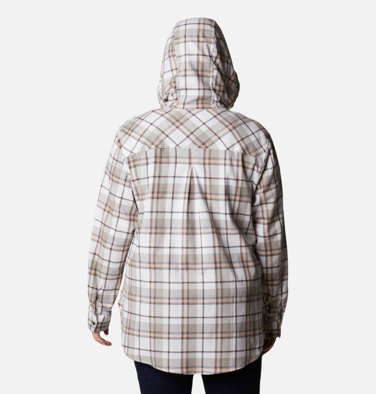 Anytime™ Stretch Hooded LS Shirt | 204 | 1X Women's Anytime™ Stretch Hooded Long Sleeve Shirt - Plus Size, Timber Plaid, back