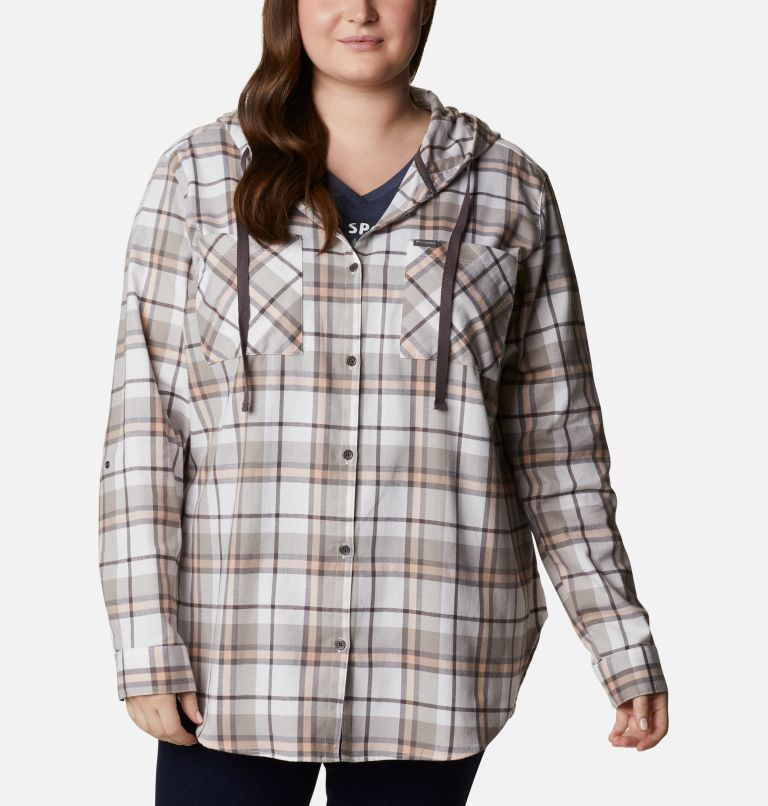 Anytime™ Stretch Hooded LS Shirt | 204 | 1X Women's Anytime™ Stretch Hooded Long Sleeve Shirt - Plus Size, Timber Plaid, front