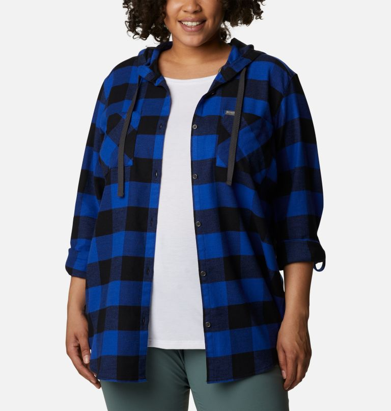 Women's Anytime™ Stretch Hooded Long Sleeve Shirt - Plus Size Women's Anytime™ Stretch Hooded Long Sleeve Shirt - Plus Size, a5