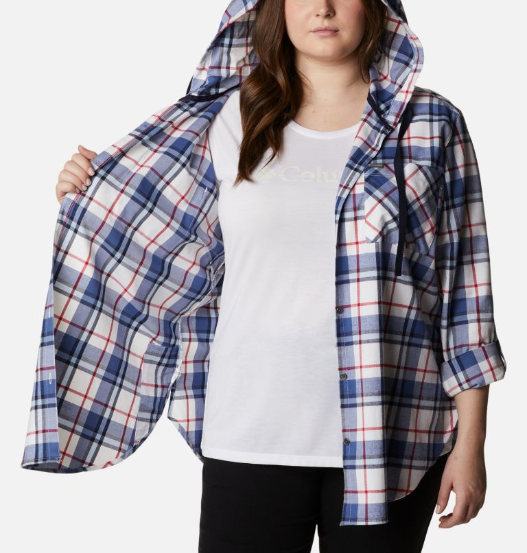 Women's Americana Anytime™ Stretch Hooded Long Sleeve Shirt - Plus Size Women's Americana Anytime™ Stretch Hooded Long Sleeve Shirt - Plus Size, a3
