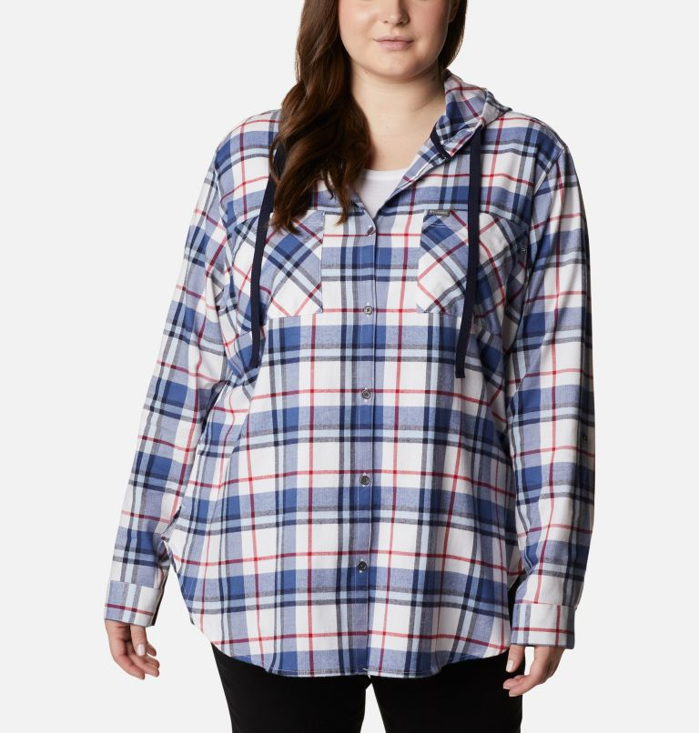 Women's Americana Anytime™ Stretch Hooded Long Sleeve Shirt - Plus Size Women's Americana Anytime™ Stretch Hooded Long Sleeve Shirt - Plus Size, front