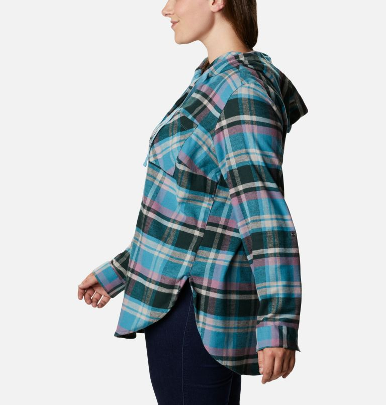 Women's Anytime™ Stretch Hooded Long Sleeve Shirt - Plus Size Women's Anytime™ Stretch Hooded Long Sleeve Shirt - Plus Size, a1