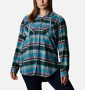 Women's Anytime™ Stretch Hooded Long Sleeve Shirt - Plus Size