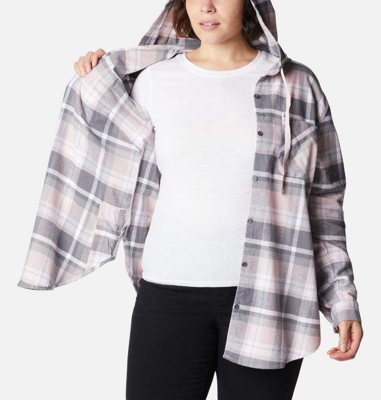 Anytime™ Stretch Hooded LS Shirt | 618 | 1X Women's Anytime™ Stretch Hooded Long Sleeve Shirt - Plus Size, Mineral Pink Multi, a3