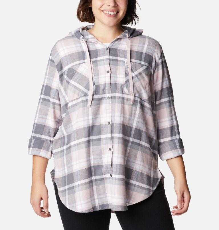 Anytime™ Stretch Hooded LS Shirt | 618 | 1X Women's Anytime™ Stretch Hooded Long Sleeve Shirt - Plus Size, Mineral Pink Multi, a5