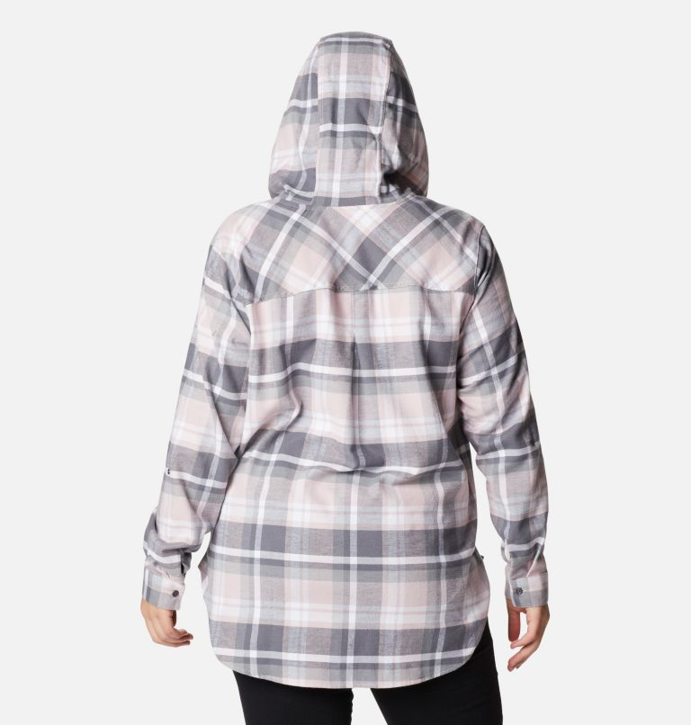 Anytime™ Stretch Hooded LS Shirt | 618 | 1X Women's Anytime™ Stretch Hooded Long Sleeve Shirt - Plus Size, Mineral Pink Multi, back