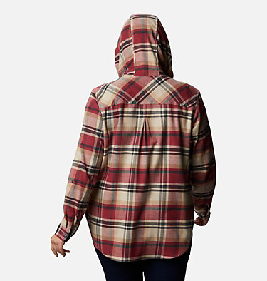 Women's Anytime™ Stretch Hooded Long Sleeve Shirt - Plus Size Anytime™ Stretch Hooded LS Shirt | 472 | 1X, Marsala Red Multi, back