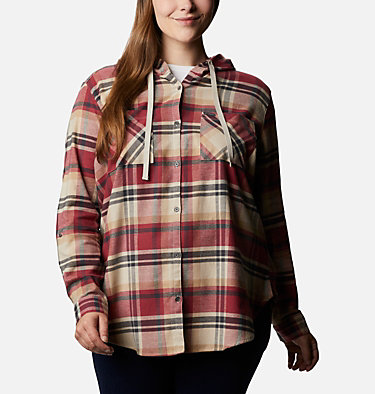 Women's Anytime™ Stretch Hooded Long Sleeve Shirt - Plus Size Anytime™ Stretch Hooded LS Shirt | 549 | 1X, Marsala Red Multi, front